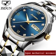Натуральная Деловые часы jsdun Элитный бренд Бизнес Часы Для мужчин Водонепроницаемость Нержавеющая сталь Авто Дата автоматические часы Новый