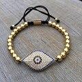 2016 homens famosos da marca de jóias 6mm rodada bead & micro pave CZ Evil Eye Connector Macrame Trançado Homens Presente Pulseira Olho Do Mal charme