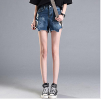 Hole Denim Shorts Jean Female Korean Relaxed Casual Straight Legged Size Ultra High Waisted Jeans All