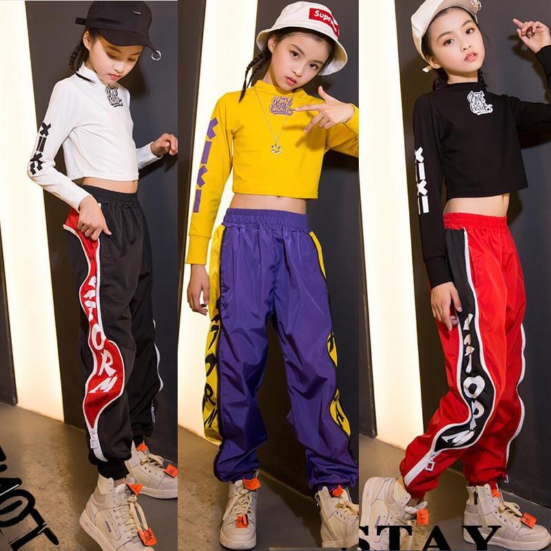 Kid sudadera recortada camisa pantalones Jogger Hip Hop danza Jazz ropa  traje para niñas niños salón c0368eb19e7