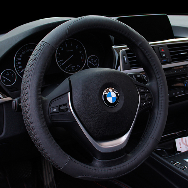 2017 News Leather Car Steering Wheel Cover For Bmw E83 X1 X3 X5 525 2003 2010 E53 2004 2006 Size 38cm
