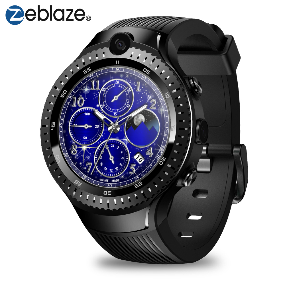 Nouveau Zeblaze THOR 4 Double 4G SmartWatch 5.0MP + 5.0MP Double Caméra Android Montre 1.4 AOMLED Affichage GPS /GLONASS 16 GB Montre Smart Watch Hommes