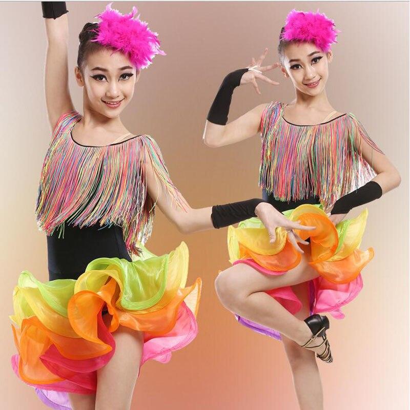 Kids Adult Tassels vestidos latino dress costumes dress Outfits Girls Ballet Skating Dancing Dress Ballroom Salsa dance dress