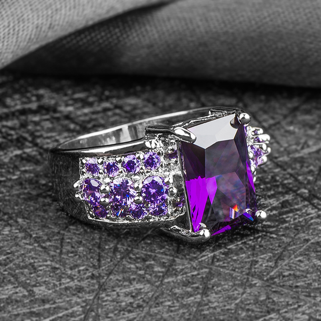 H:HYDE 1 pc Silver Color purple CZ Cubic Zirconia Stone women jewelry wedding ring size 8