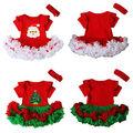 Vestido de las muchachas 2016 Muchachas Del Vestido Del Tutú de Navidad Papá Noel árbol de Navidad Niños Ropa Vestidos Kid Party tutu dress + Hair banda