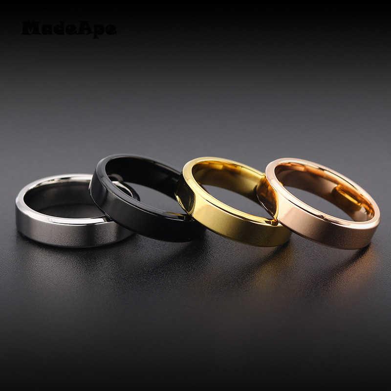 Madape 316l alta qualidade largura 4mm 6mm preto titanium inoxidável anel amante casal anéis de prata dos homens do vintage legal anéis