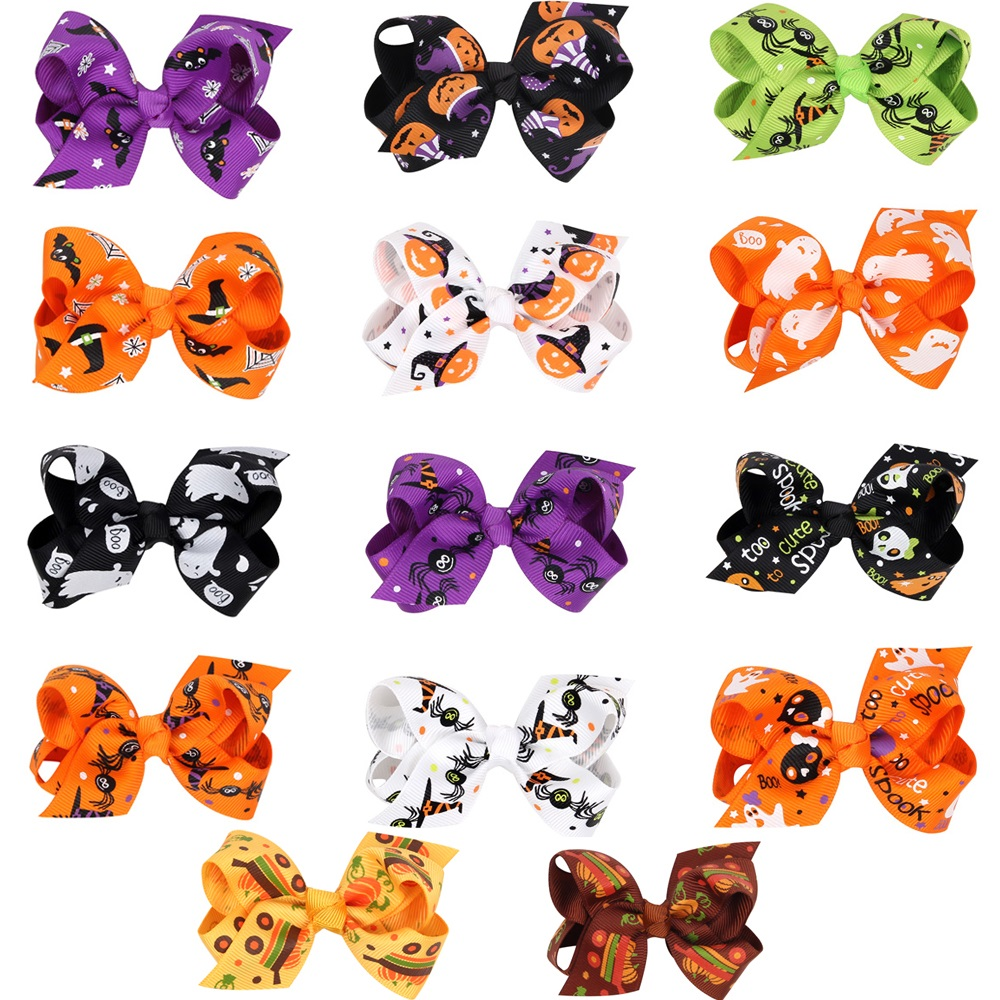 Naturalwell Baby Halloween hairclip bow Halloween Pumpkin Hair Clip Girl Barrette Fall Hair Accessories Hair Bows BB088 2pcs bowknot girl kids mini hair clip hairgrip satin hair ribbon bows hairpin accessories for girls hair clips hairclip barrette