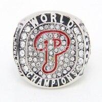 MLB Championship Ring 2008 Philadelphia Phillies High Quality Crystal Gold Plated Major League Baseball Fan Gift