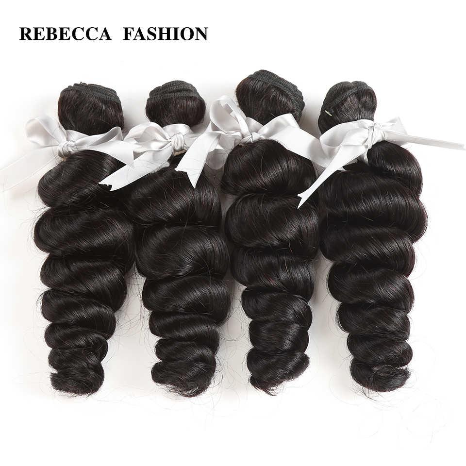Extensiones de trama de cabello de 10 a 26 pulgadas no Remy de pelo humano de la onda suelta de Rebeca peruano envío gratis 4 paquetes ofertas
