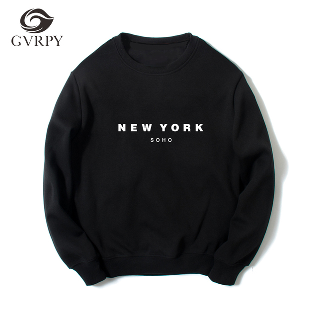 New York Soho Letters Printing Women Men Hoodies Fashion Casual Sweatshirts  Female Femme Tops Hipster Black White Gray Pullovers efae8f1b17