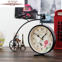 Vintage Home Decor European Clock Creative Iron Clock Bicycle Desktop Digital Clock Copper