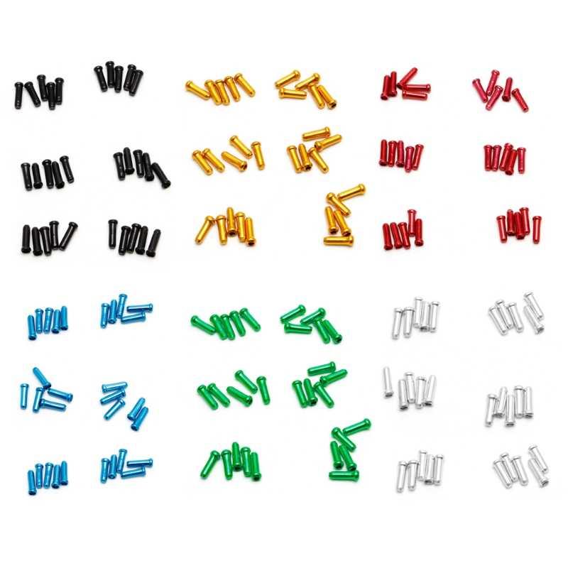 30 قطعة مجموعة 7 ألوان الفرامل سلك نهاية غطاء كابل أجزاء الألومنيوم الجبلية دراجة دراجة خط الأساسية غطاء تغليف والعتاد التحول الفرامل Whosale و دروبشيب