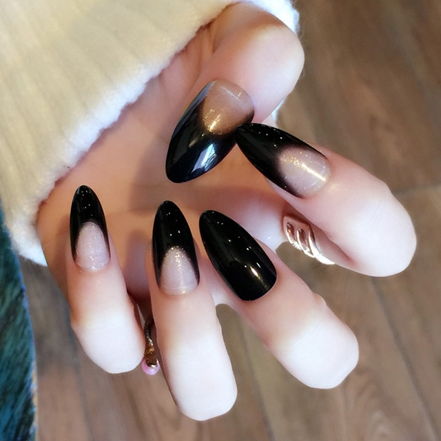 Pointed Fake Nail Tips Clear Black French Long Nails Full Cover False Press On