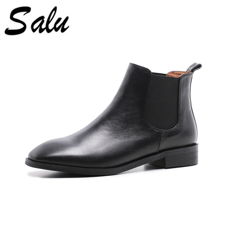Salu Spring Women Genuine Leather Chelsea Boots Thick Heels Ankle Booties Fashion Handmade Ladies ShoesSalu Spring Women Genuine Leather Chelsea Boots Thick Heels Ankle Booties Fashion Handmade Ladies Shoes