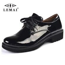 Lemai лакированные кожаные туфли для женщин сзади с кожаной стелькой больших размеров Кружево на шнуровке Повседневная обувь ручной работы офиса мягкая подошва a977