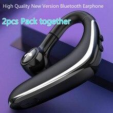 عبوة 2 قطعة سماعة رأس بخاصية البلوتوث 5.0 سماعة رأس لاسلكية سماعة أذن فائقة الاستعداد طويلة مع ميكروفون مقاوم للعرق تقليل الضوضاء