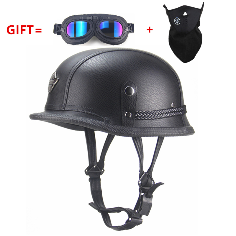 Adult  vintage Open Face Half Leather Helmet  Moto  Motorcycle Helmets  Motorcycle Motorbike Vespa