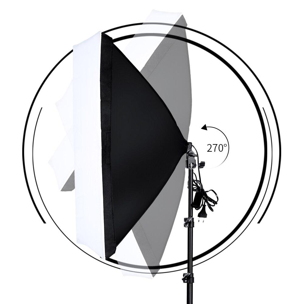 Softbox de photographie professionnelle avec Kit d'éclairage à douille E27 pour Portraits de Studio Photo, photographie et prise de vue vidéo - 4