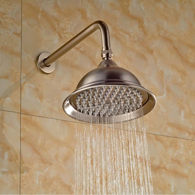 Wholesale And Retail Nickel Brushed Bathroom 8 Round Rain Shower Head Wall Mounted Shower Arm Top Shower Sprayer hot sale wholesale and retail promotion new modern brushed nickel 12 rain shower head ultrathin shower head replacement