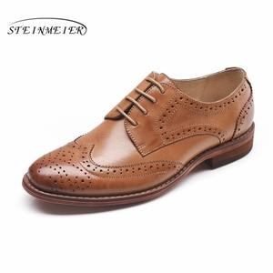 Image 3 - Echte schapenvacht lederen brogue schoenen yinzo lady flats schoenen vintage handgemaakte winter oxford schoenen voor vrouwen zwart grijs bruin