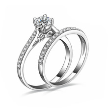 2Pcs set Charm Lovers Ring Bijoux Femme Fashion Jewelry Bijoux Silver Crystal Engagement Wedding Rings For