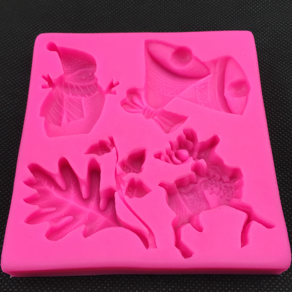 3D Reverse sugar molding Christmas appear Food Grade silicone mould for polymer clay moulds cake decorating tools FT-0216