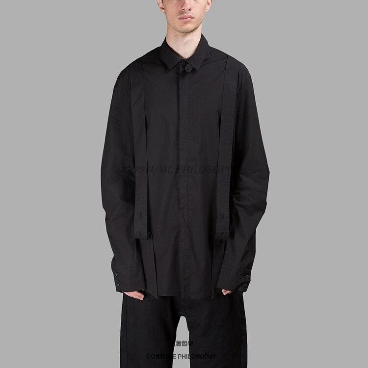 Самодельные 2018 новые стильные мужские рубашки черные классические дизайнерские Свободные повседневные куртки с ремешком сзади. S 6XL!