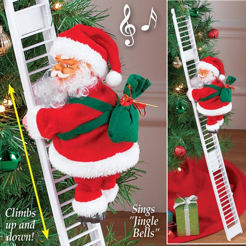 1 Pcs Electric Climbing Ladder Santa Claus Christmas Figurine Ornament Decoration Gifts S7jn