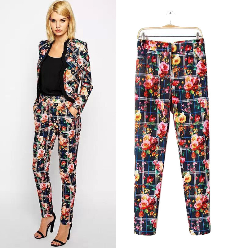 New Autumn 2015 Woman 39 S Pants European Style Fashion Vintage Paid Flower Print Slim Fit High