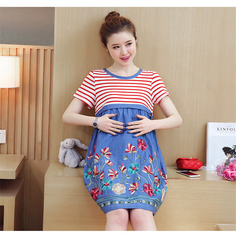 2018 New Summer Comfortable Cotton Pregnant Maternity Dress Stripe Mother Dress Pregnant + Feeding Women Clothes Nursing Dress