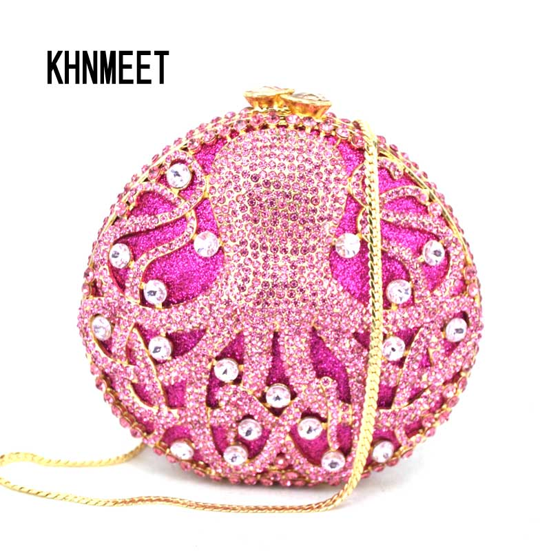 Luxury women evening bags Animal octopus Gold crystal Clutch bag fashion diamante dinner bag Ladies party Prom Purse SC056 2016 handmade crystal chian bead black evening clutch bags purse prom wedding women dinner bag beg bolsa feminina aj sac a main