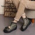 Flor Botas Cut-Outs das Mulheres Sapatos Feitos À Mão de Couro Da Moda Outono Retro Botas Flat Com Couro Genuíno Macio E Confortável botas