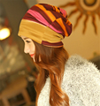 2 pcs 2016 New Arrival 3 Use Hat Knitted Scarf  Winter Hats for Women Striped Beanies Hip-hop  Women Skullies & Beanies