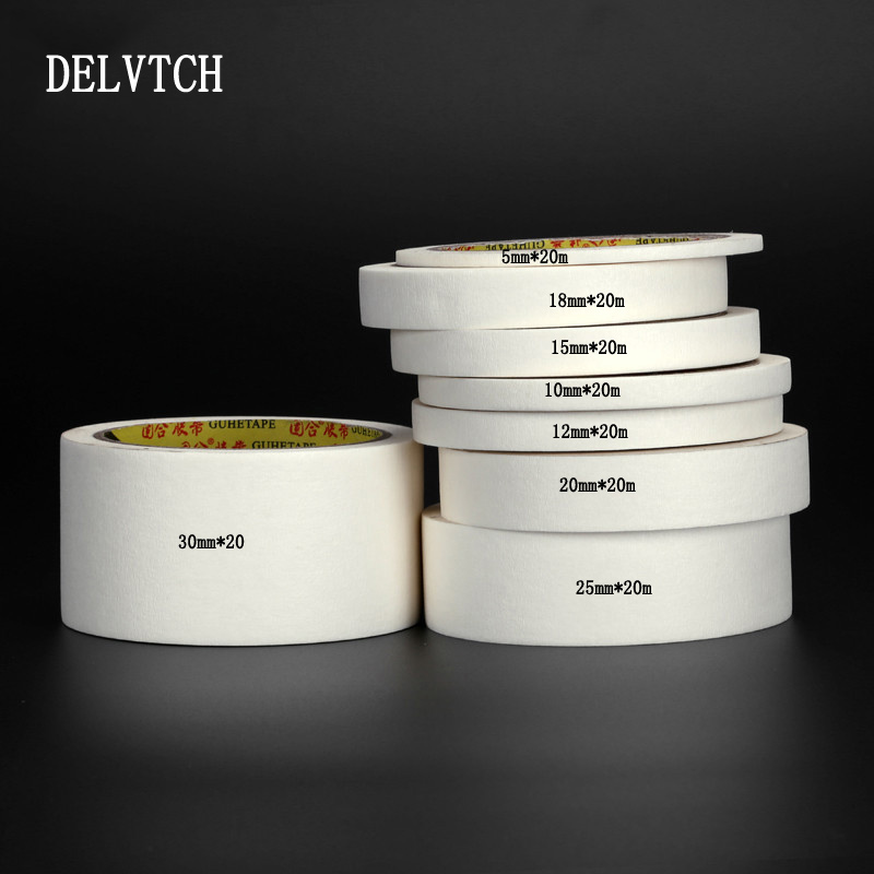 DELVTCH White High Temperature Single Sided Tear Can Write Adhesive Masking Tape