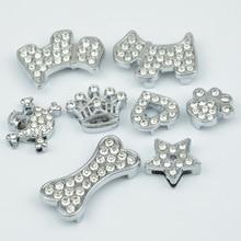 10pcs Rhinestone Skull/Heart/Paw/Bone/Dog/Crown/Star Collar pet Charm