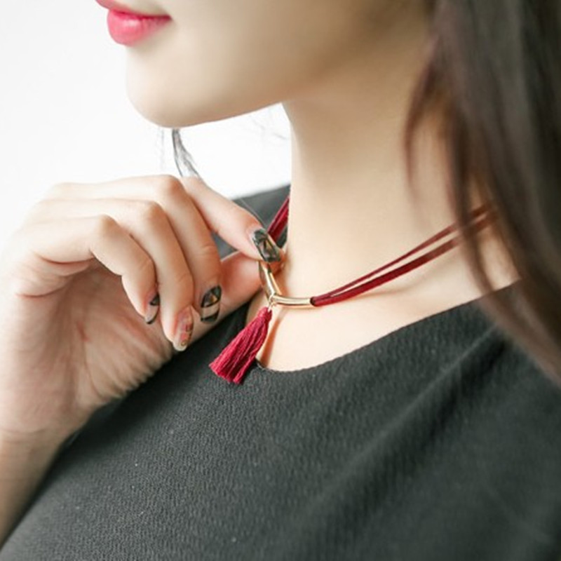 e48f04853227 Terciopelo cornamenta cuero cordón collar pulsera joyería de moda guapo  puro color blanco borla collares