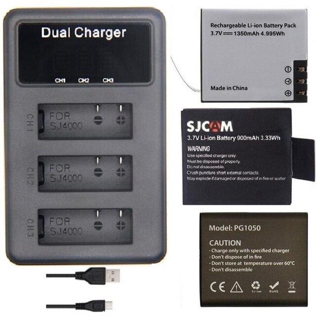 SOOCOO EKEN SJCAM Original Accessories 3slots LCD Battery Charger Dual for C30 SJ4000 SJ5000 H9 H5S H6S THIEYE T5 Action Camera
