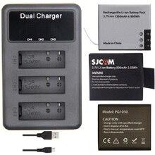 SOOCOO EKEN SJCAM oryginalne akcesoria 3 gniazda ładowarka baterii LCD Dual dla C30 SJ4000 SJ5000 H9 H5S H6S THIEYE T5 kamera akcji