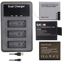 SOOCOO cargador de batería LCD Dual para Cámara de Acción C30, SJ4000, SJ5000, H9, H5S, H6S, THIEYE, T5, accesorios originales, 3 ranuras