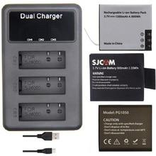 Soocoo eken sjcam acessórios originais 3slots lcd carregador de bateria dupla para c30 sj4000 sj5000 h9 h5s h6s thieye t5 câmera ação