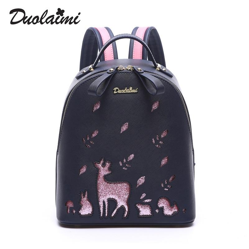 где купить DUOLAIMI Women Backpacks 3D Printing Deer PU Leather Satchel Female Trendy Designer School Bags Teenagers Girls Travel Mochilas дешево