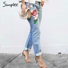 Simplee Цветочной вышивкой джинсы женские Зимние молнии прямые брюки джинсовые джинсы женщин Мода карманные свет синие брюки джинсы(China (Mainland))