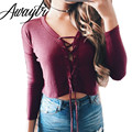 Awayt Autumn Lace Up Loose Wine Sweater Women Long Sleeve Green Pullover Casual Outerwear Elastic Waist Knitting Top C3612