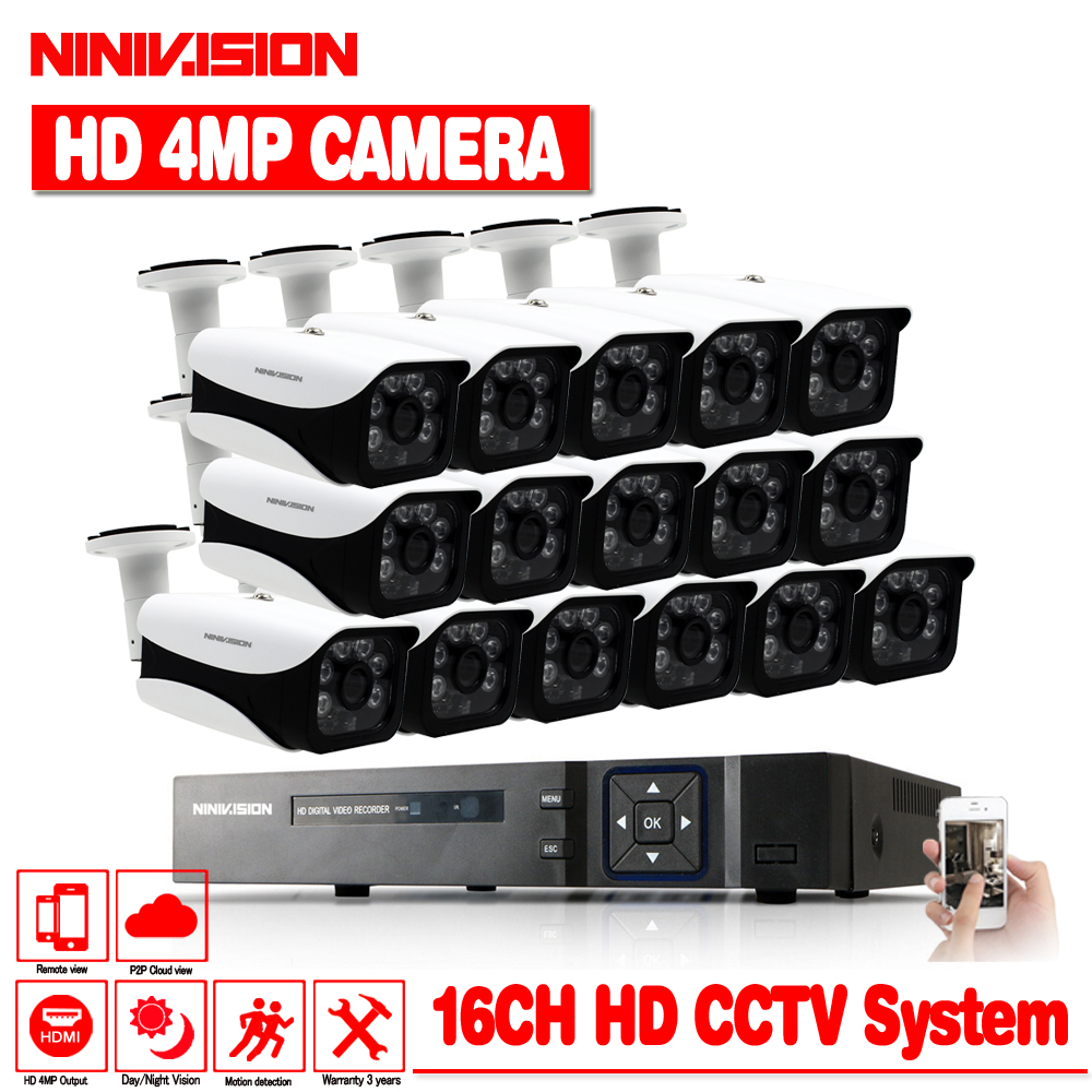 16CH 4MP HD AHD DVR CCTV System With 16Pcs CCTV Camera 4MP indoor Outdoor Waterproof AHD Security Surveillance Camera Kit