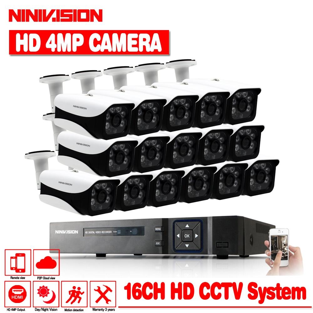 16CH 4MP HD AHD DVR Sistema A CIRCUITO CHIUSO Con 16 pz Macchina Fotografica del CCTV 4MP coperta Esterna Impermeabile AHD Telecamera di Sorveglianza di Sicurezza kit
