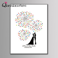 Qianxiaozhenパーソナライズ花火指紋結婚式のゲストブック結婚式装飾マリアージュgastenboek decoracion boda