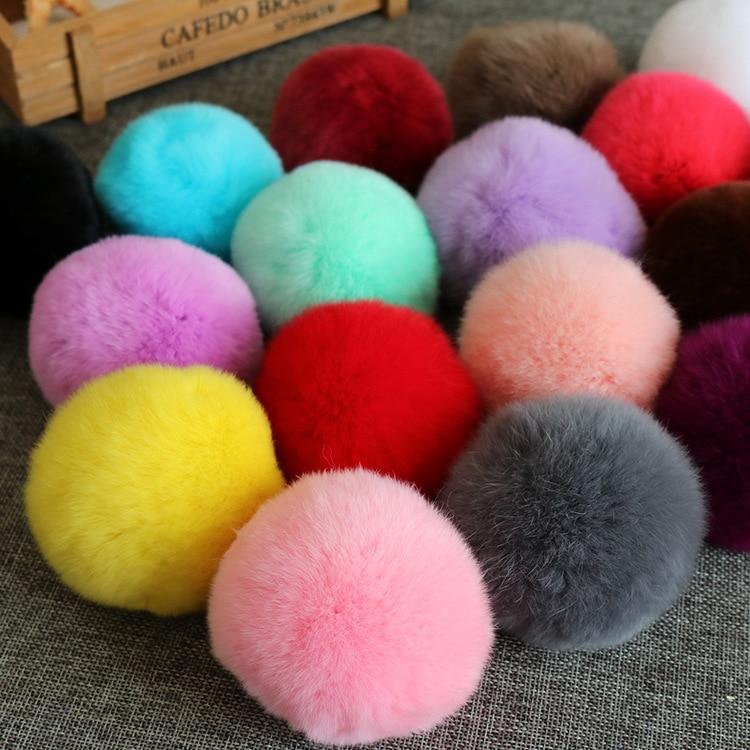 20 färger Real Fur Ball 6cm Pompom Keychain Bil Pompon Kanin Fur - Semester och fester - Foto 3