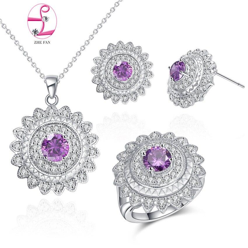 ZHE FAN élégant cuivre bijoux ensembles rond coupe AAA cubique zircone collier boucles d'oreilles anneau ensemble femmes mariage fiançailles fête cadeau