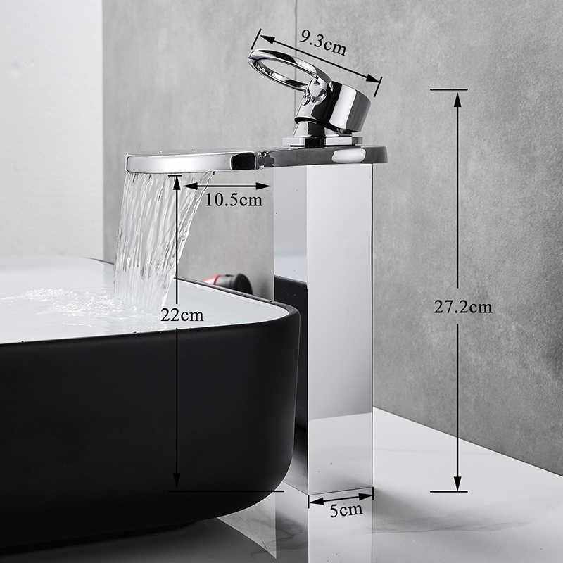 Wodospad łazienka umywalka wysoki baterie prysznicowe chrom mosiężny kran umywalka kran z pojedynczym zaworem bateria kuchenna krany