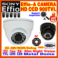 "High Quality Metal Indoor Dome 1/3""Sony Sensor CCD Effio-e 800/900TVL Ha Cctv Camera Waterproof Infrared Ir Color Home Video OSD"